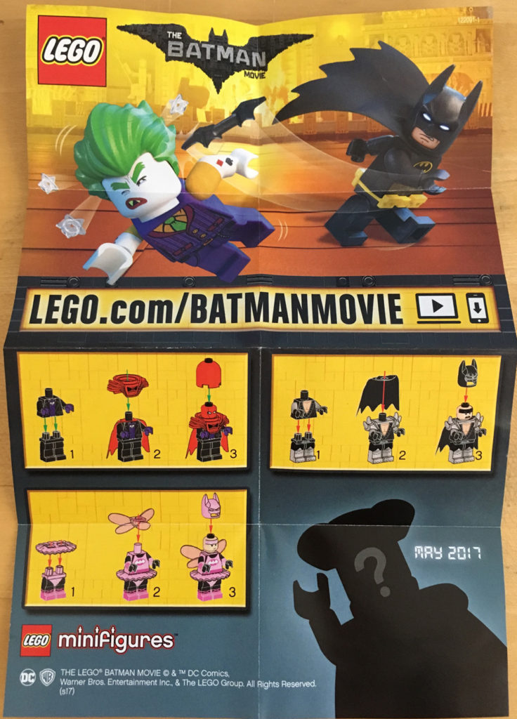 LEGO Batman Movie Minifigures 71017 Leaflet Back